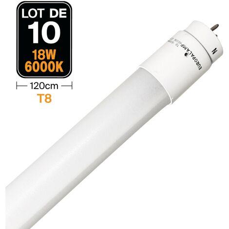 Lot de 10 Tubes Neon LED 18W 120cm T8 Blanc Froid 6000K Gamme Pro - LOTX106000K120CM