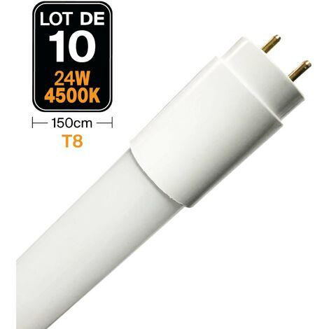 Lot de 10 Tubes Neon LED 24W 150cm T8 Blanc Neutre 4500k Gamme Pro - LOTX104500K150CM