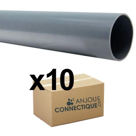 Lot de 10 Tubes PVC évacuation NF-Me prémanchonné - diamètre 80 mm - 4 mètres