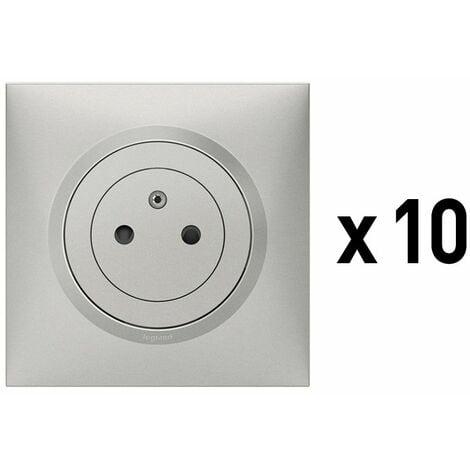 Lot de 10 x 2P+T Affleurante avec terre Dooxie - Aluminium - Complet - Legrand