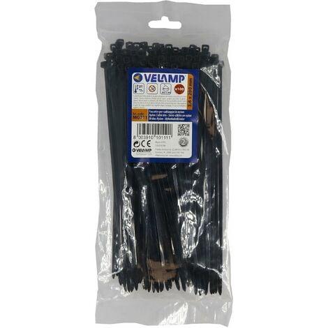 Lot de 100 colliers de fixation en nylon Noir - 3,6 x 200 - Velamp