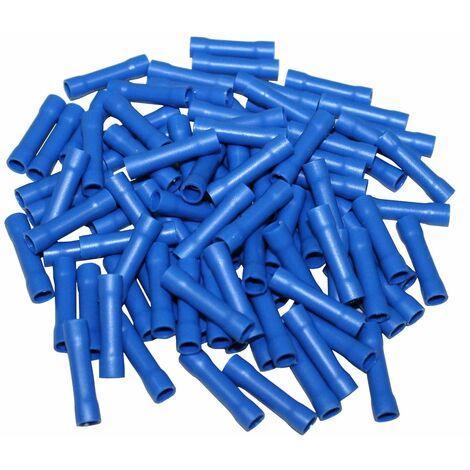 Lot de 100 manchons raccords électriques isolés à sertir ronds bleu