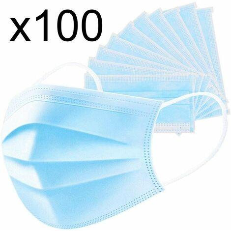 Lot de 100 masque chirurgical jetable protection respiratoire 3 couches pour le visage hypoallergénique et respirant Norme CE