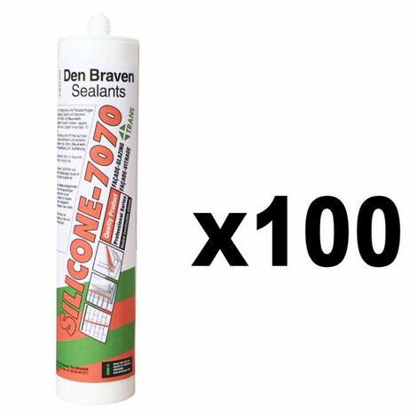Lot de 100 Mastics Silicone neutre 300ml 7070 Plus DEN BRAVEN - Couleur: Blanc