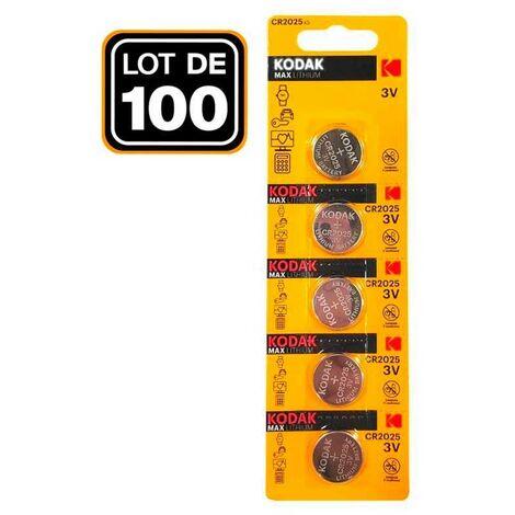 Lot de 100 Piles Bouton CR2025 3V 150mAh Lithium PKCell