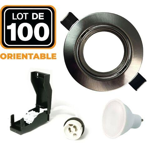 Lot de 100 Spots encastrable orientable INOX avec GU10 LED de 5W eqv. 40W