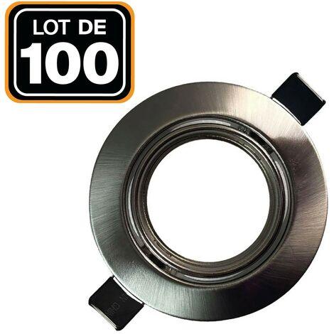 Lot de 100 Supports spot orientable Inox , Diametre 82mm trou de perçage 65mm