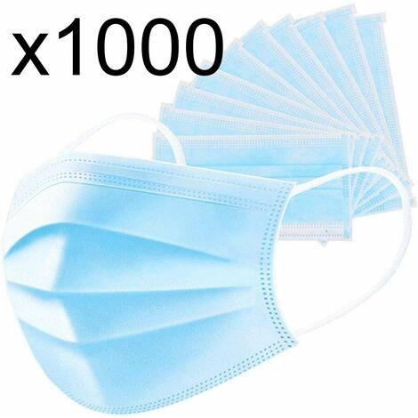 Lot de 1000 masque chirurgical jetable protection respiratoire 3 couches pour le visage hypoallergénique et respirant Norme CE