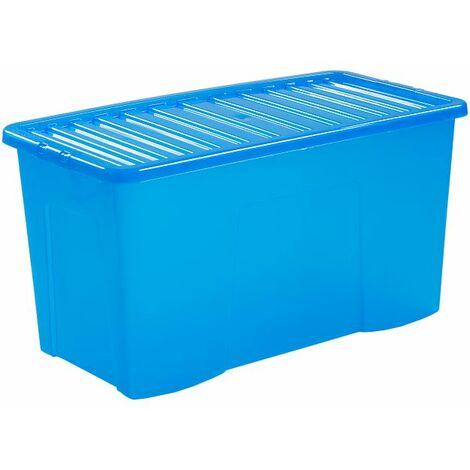 Lot de 10x boîte de rangement bleue   110 l   Avec couvercle   Certeo - Bleu