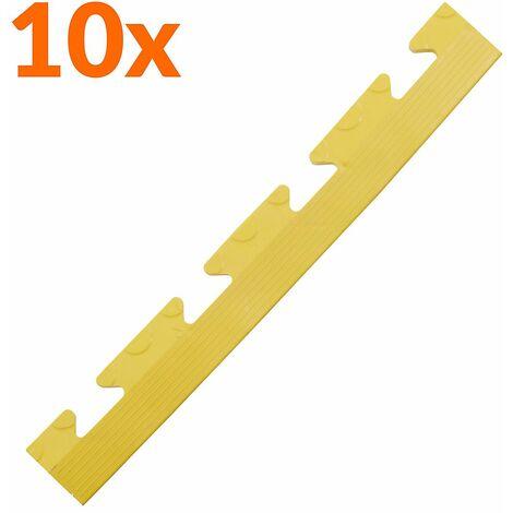 Lot de 10x bordure biseautée PVC à clipser | Pour dalles de garage | HxLxP 12 x 470 x 60 mm | Pastillée | Femelle | - Jaune