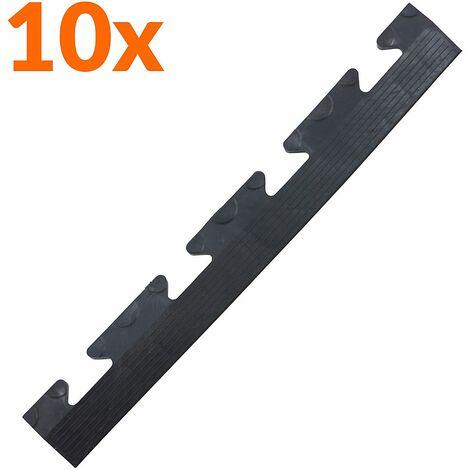 Lot de 10x bordure biseautée PVC à clipser | Pour dalles de garage | HxLxP 12 x 470 x 60 mm | Pastillée | Femelle | Noir - Noir