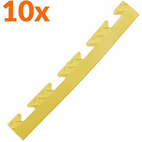 Lot de 10x bordure biseautée PVC à clipser | Pour dalles de garage | HxLxP 12 x 470 x 60 mm | Rainurée | Femelle | Jaune - Jaune