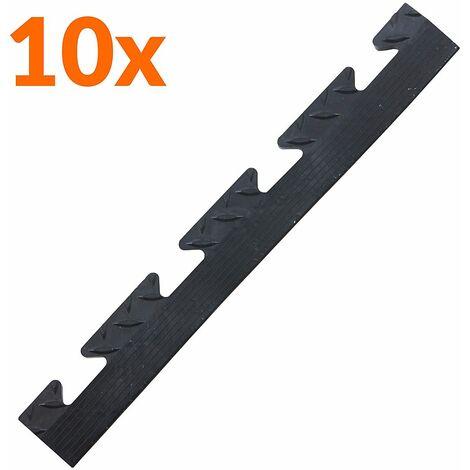 Lot de 10x bordure biseautée PVC à clipser | Pour dalles de garage | HxLxP 12 x 470 x 60 mm | Rainurée | Femelle | Noir - Noir