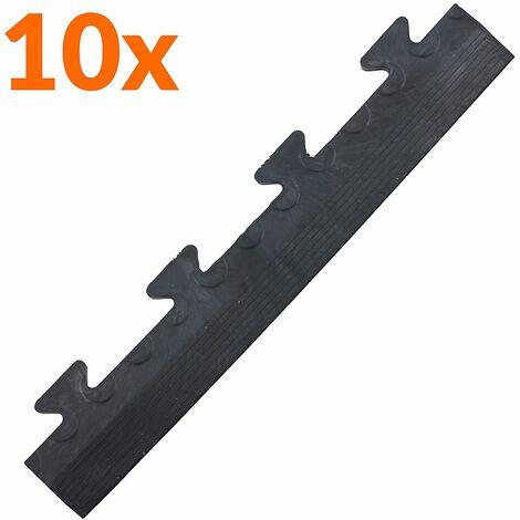 Lot de 10x bordure biseautée PVC à clipser | Pour dalles de garage | HxLxP 12 x 470 x 85 mm | Pastillée | Mâle | Noir | - Noir