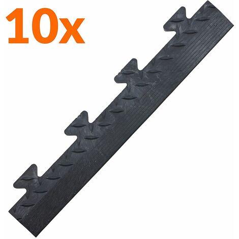 Lot de 10x bordure biseautée PVC à clipser | Pour dalles de garage | HxLxP 12 x 470 x 85 mm | Rainurée | Mâle | Noir | - Noir