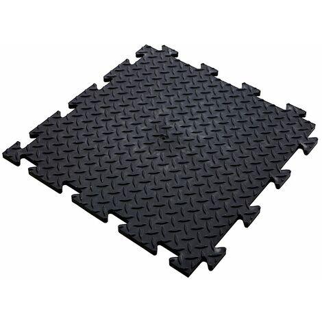 Lot de 10x dalle PVC pour garage à clipser | HxLxP 12 x 470 x 470 mm | Rainurée | Noir | Certeo - Noir
