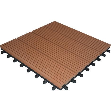 Lot de 11 dalles composite - 1 m² - Brun