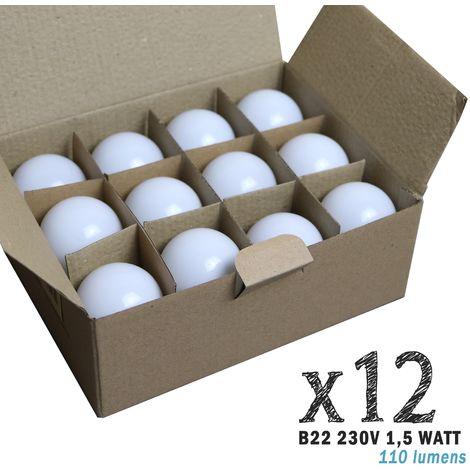 Lot de 12 ampoules LED B22 1,5W Blanc Chaud (équivalence 15W) pour Guirlande Extérieure | blanc-chaud-3000k - non-dimmable
