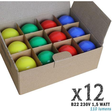 Lot de 12 ampoules LED B22 1,5W Rouges, Bleues, Vertes et Jaunes (équivalence 15W) pour Guirlande Extérieure   non-dimmable