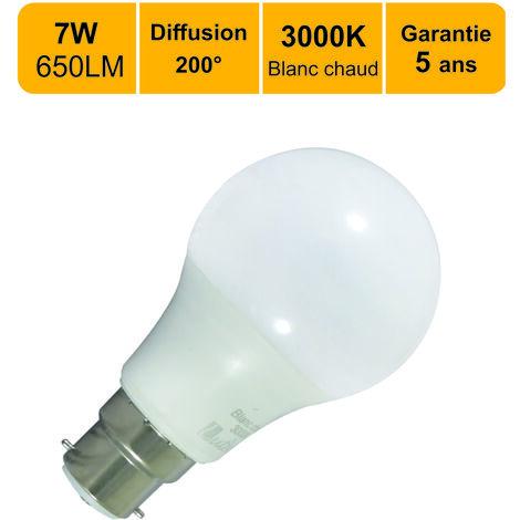 Lot de 12 ampoules LED B22 7.5W (equiv. 45W) 650Lm 3000K