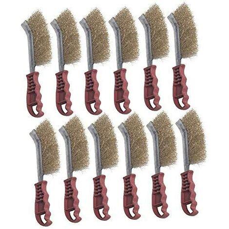Lot de 12 brosses à main courbées pour enlever la rouille et enlever la rouille, brosse à fil à main, brosse à fil et brosse en laiton avec double brosse en plastique facile à tenir