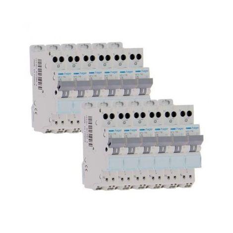 Lot de 12 disjoncteurs 10A automatiques / Hager