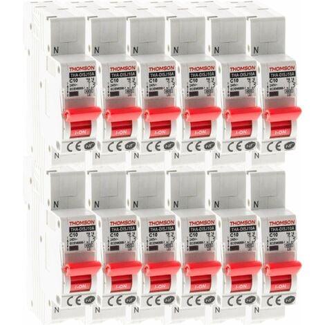 Lot de 12 Disjoncteurs à connexions automatiques PH+N Thomson - 10A NF