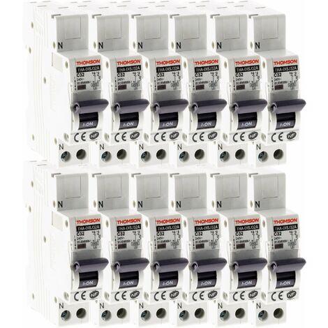 Lot de 12 Disjoncteurs à connexions automatiques PH+N Thomson - 32A NF