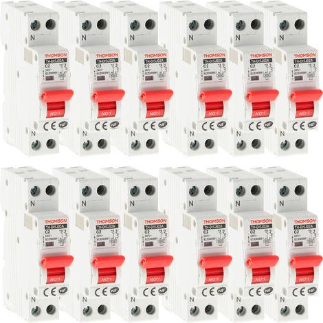 Lot de 12 Disjoncteurs à vis PH+N - 2A NF (Pouvoir de coupure 4.5KA)