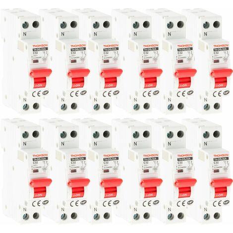Lot de 12 Disjoncteurs à vis PH+N - 32A NF