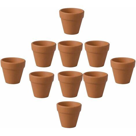 Lot de 12 mini pots en terre cuite pour cactus, fleurs, plantes grasses, 3 x 3 cm