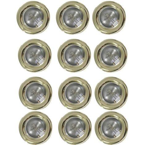 Lot de 12 mini spots fixes encastrables doré Lumières Mini downlight plafond ou placard
