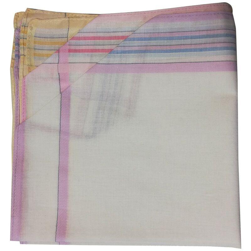 Vandersickel - Lot de 12 mouchoirs 36x36 cm 100% coton motif 37 - Multicolore