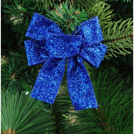 Lot de 12 nœuds à paillettes pour décoration de sapin de Noël - 10 x 8 cm - Noeuds en ruban de Noël - Décoration pour sapin de Noël, couronne, porte, cadeau décoratif (bleu)