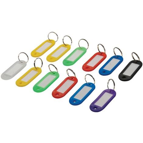 Lot de 12 porte-clés à étiquettes de couleurs assorties - 12 pcs