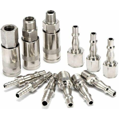 """main image of """"Lot de 12 raccords de tuyau d'air BSP à libération rapide mâle femelle pour outils de compresseur 0,6 cm"""""""
