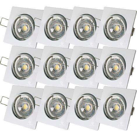 LOT DE 12 SPOT LED CARRE BLANC 230V 38° BLANC CHAUD