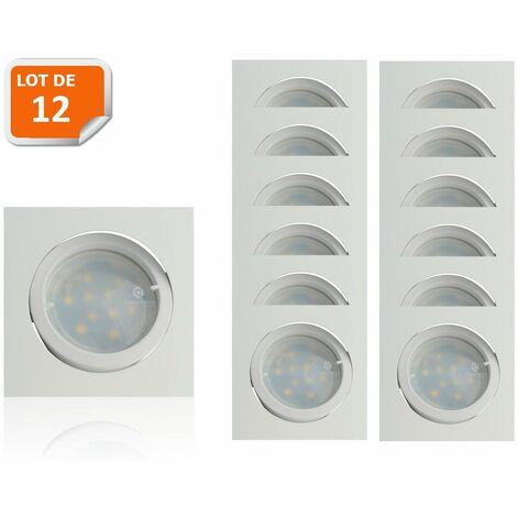 Lot de 12 Spot Led Encastrable Carré Blanc Orientable lumière Blanc Chaud 5W eq. 50W ref.404