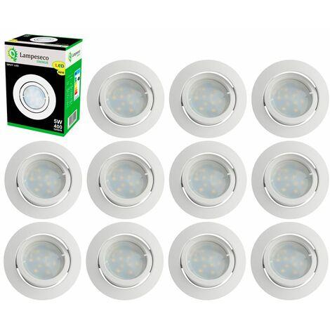 Lot de 12 Spot Led Encastrable Complete Blanc Orientable lumière Blanc Chaud eq. 50W ref.193