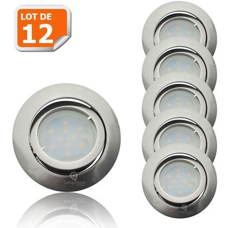 Lot de 12 Spot Led Encastrable Complete Satin Orientable lumière Blanc Chaud eq. 50W ref.209
