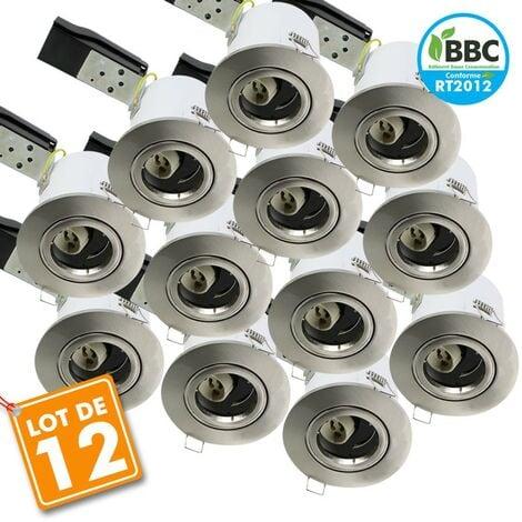 Lot de 12 Spot Plafond BBC acier brossé orientable diam 100
