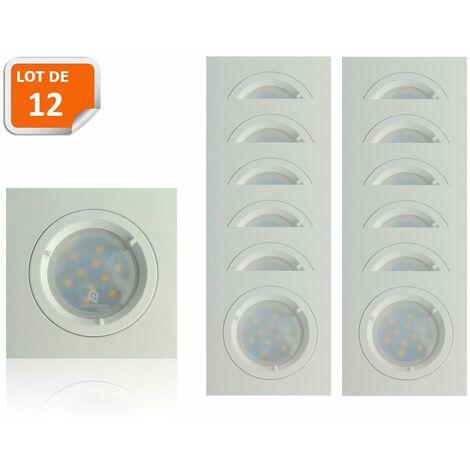 Lot de 12 Spots Led Blanc Carré lumière Blanc Neutre 5W eq. 50W ref.464