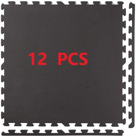 Lot de 12 Tapis Mousse de Sol pour Appareils Fitness