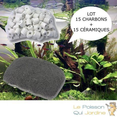 Lot de 15 charbons actifs et 15 anneaux en céramique pour filtration aquarium et bassin de jardin