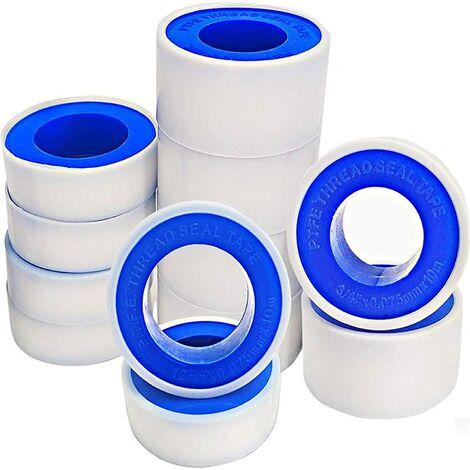 Lot de 15 rouleaux de ruban d'étanchéité en téflon PTFE pour tuyaux, plomberie et plomberie, raccord pour fuite d'eau, tête d'air, tuyau fileté (blanc)