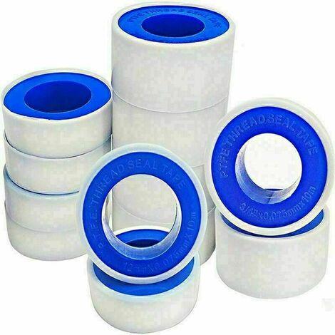 Lot de 15 rouleaux de ruban d'étanchéité en téflon PTFE pour tuyaux, plomberie et plomberie, tête d'air, raccord pour fuite d'eau,tuyau fileté ,blanc