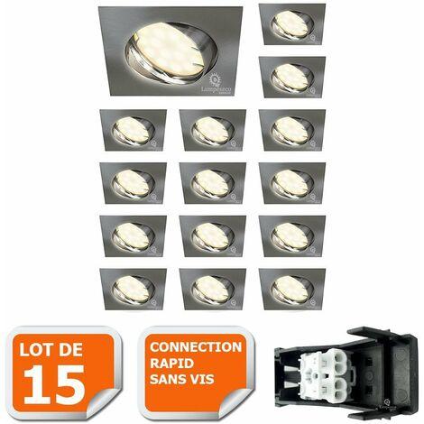 LOT DE 15 SPOT ENCASTRABLE ORIENTABLE LED CARRE ALU BROSSE GU10 230V eq. 50W BLANC CHAUD