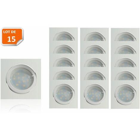 Lot de 15 Spot Led Encastrable Carré Blanc Orientable lumière Blanc Chaud 5W eq. 50W ref.404