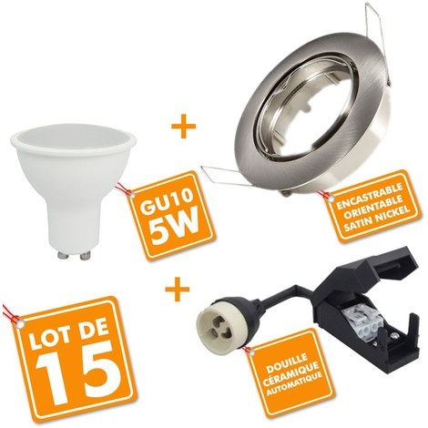 ead02162aaf84 Lot de 15 Spot LED encastrable complet orientable Acier brossé avec Ampoule  GU10 230V 5W