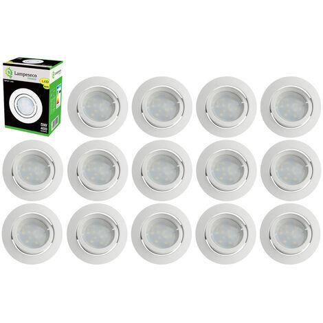 Lot de 15 Spot Led Encastrable Complete Blanc Orientable lumière Blanc Chaud eq. 50W ref.193